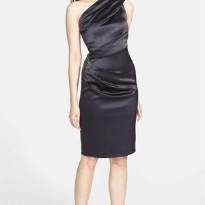 Eliza J Beaded One Shoulder Satin Dress Midnight